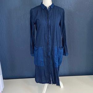 Zara Denim Dress Pockets Size M Blue Midi